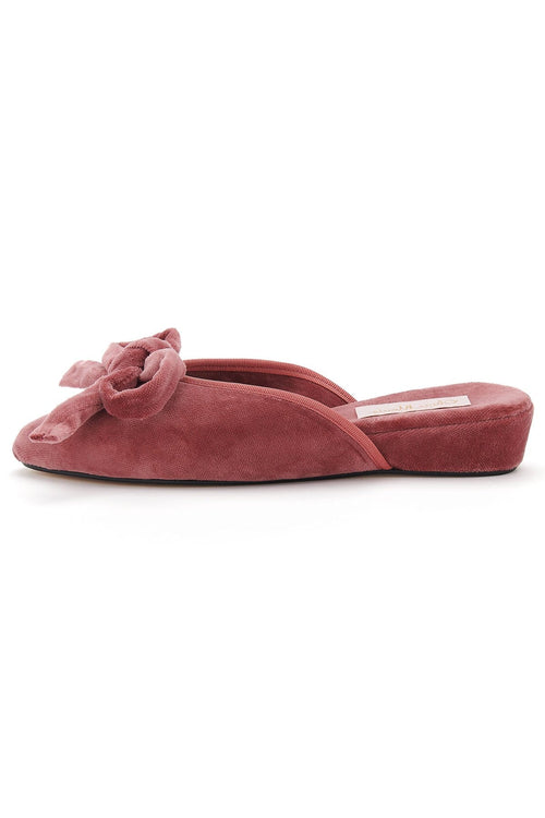 Daphne Bow Slipper in Rose Pink Velvet