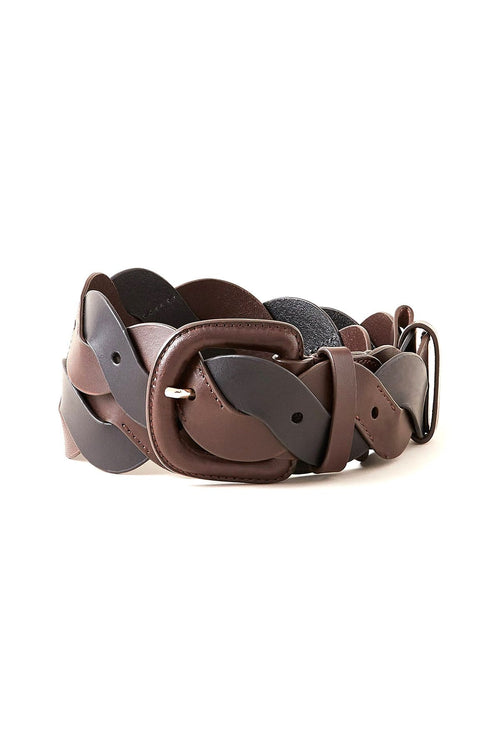 Deidre Wavy Pieced Belt in Chocolate/Black