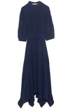 Ophelia Silk Crepe de Chine Dress in Deep Blue