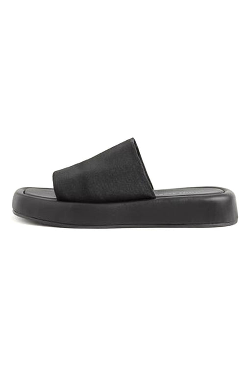 Deryn Stretch Square Toe Platform Slide Sandal in Black