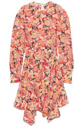 Felicity Watercolor Floral Silk Print Dress in Multicolor Pink
