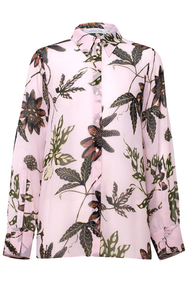 Floral Transparencies Button Down Blouse in Rose Passiflora TS