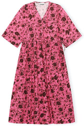Printed Cotton Poplin Dress in Shocking Pink