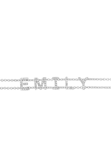 Diamond Custom Name Bracelet in White Gold