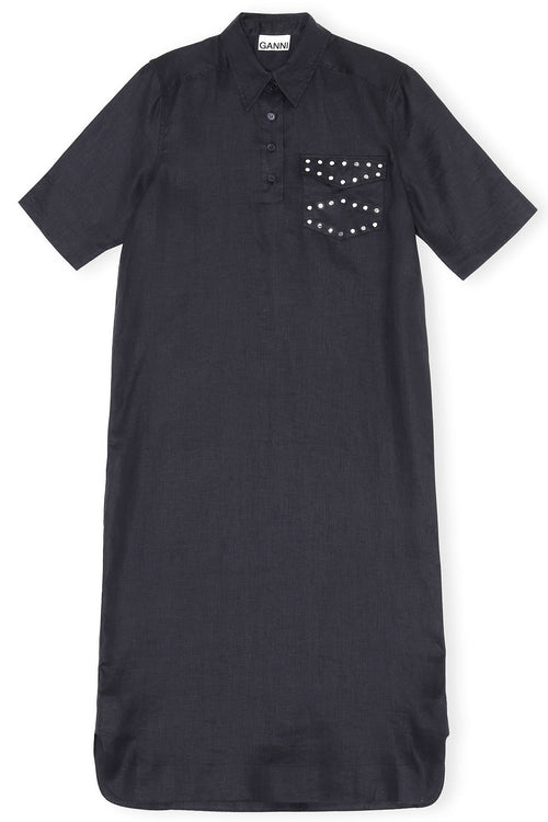 Light Linen Stud Pocket Dress in Phantom