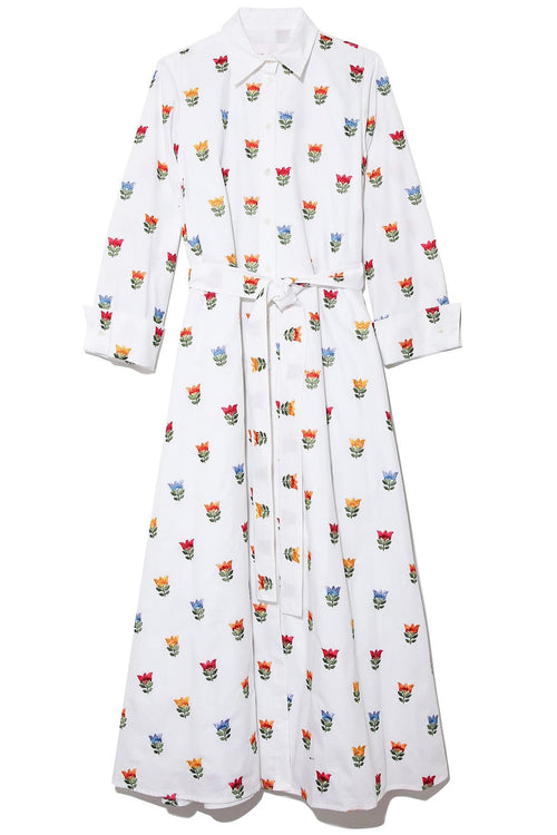 Flower Pot Embroidery Dress in White Multi