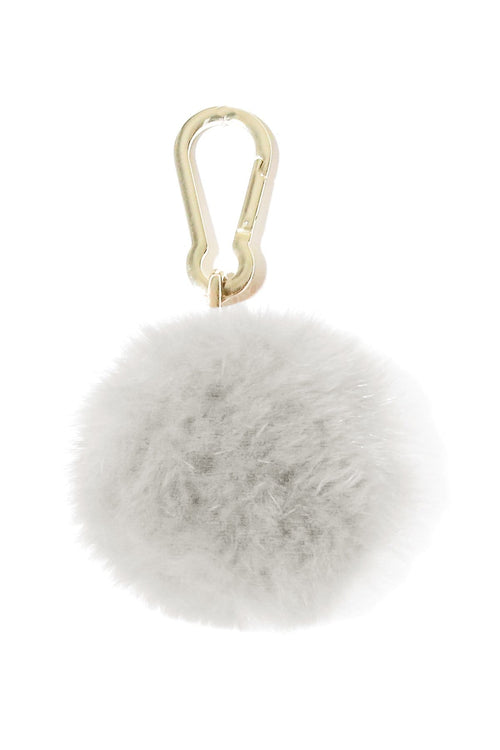 Fox Pompom Keychain in Blanc