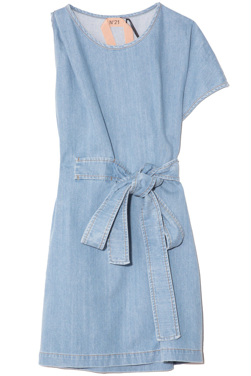 One Sleeve Denim Dress in Degradable Blue
