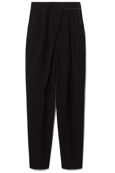 Draped Front Pant with Topstitch in Black