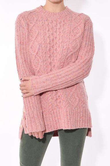 Button Side Aran Sweater in Dried Rose
