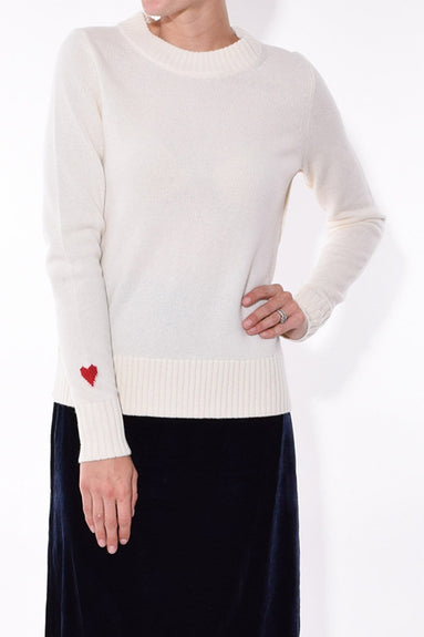 Heart on Sleeve Crewneck in Ivory
