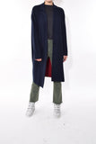Wool Blend Half Sweater Coat in Navy