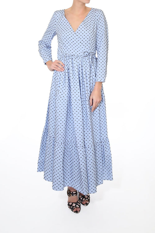 Aymeline Dress in Brown/Blue Dots