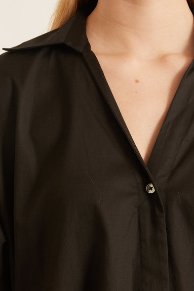 Cotton A-Line Shirt in Black