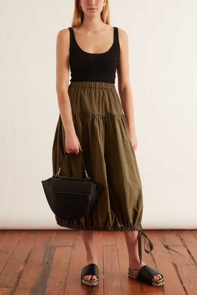 Faille Bubble Hem Skirt in Green