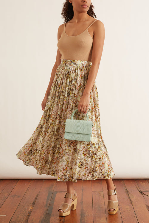 Floral Jacquard Midi Skirt in Multi