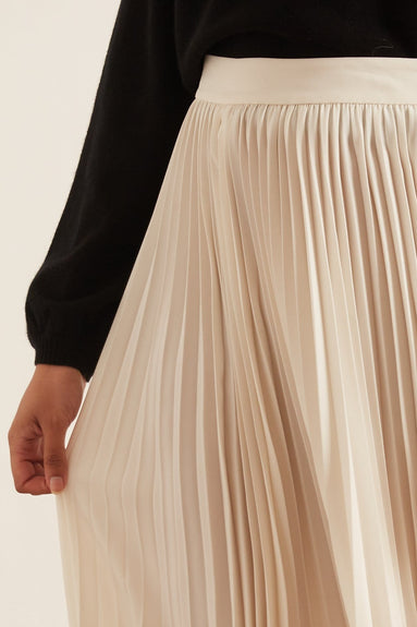 Pleated Long Skirt in Ivory