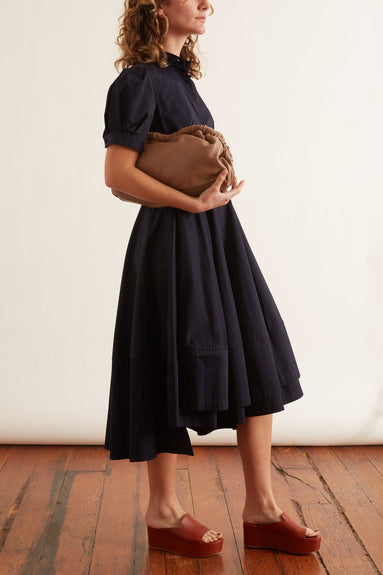 Short Sleeve Flared Dress in Navy