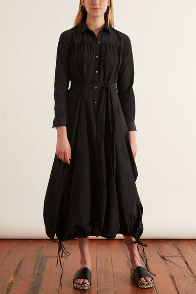 Taffeta Drawstring Hem Shirt Dress in Black