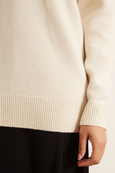 V-Neck Boyfriend Sweater in Ivory