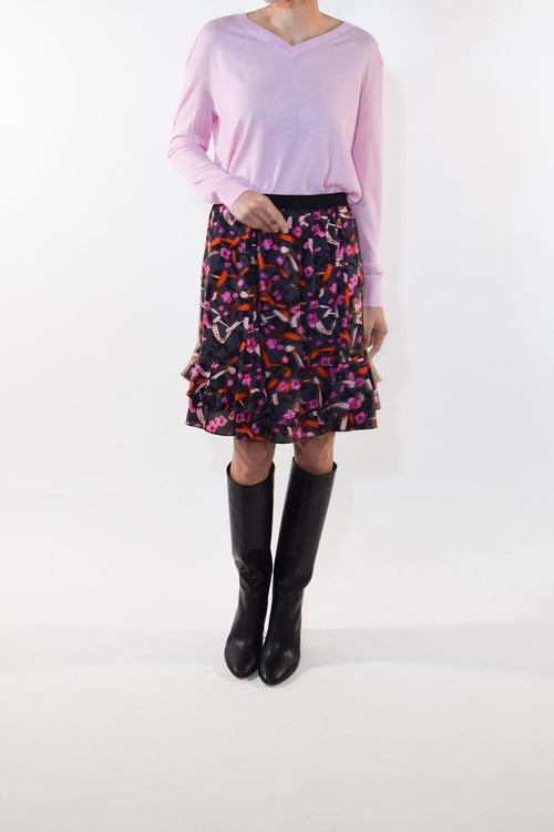 Abstract Flowering Skirt in Grey Artsy Flower