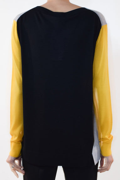 Colorful Essential Pullover in Grey/Yellow Colorblock