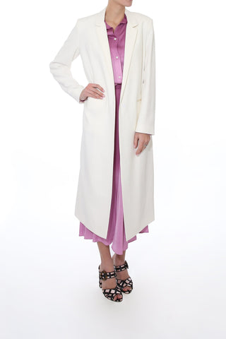 Double Crepe Wool Dustcoat in Avorio