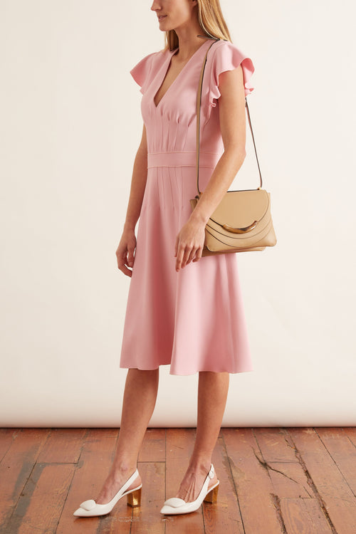 Flutter Short Sleeve V-Neck Dress in Rosa Pink