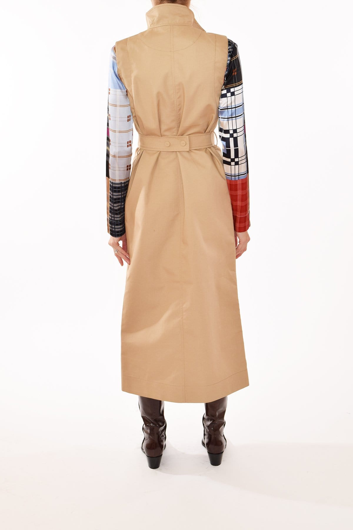 Belted Two-Toned Print Cotton Sleeveless Dress