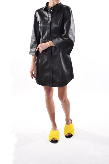 Lamb Leather Dress in Black