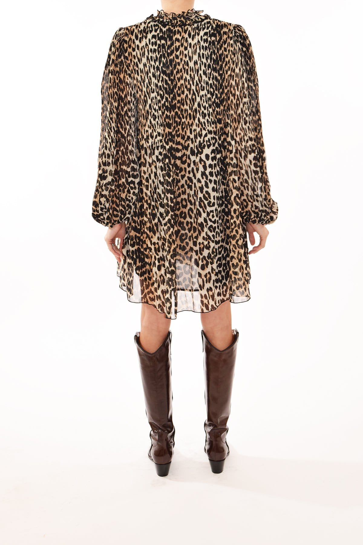 Short Collared Georgette Keyhole Pleated Animal Leopard Print Dress With Ruffles