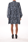 Printed Cotton Poplin Dress in Forever Blue