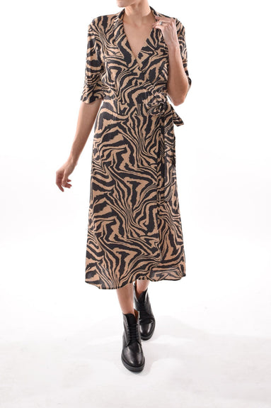 Printed Crepe Wrap Dress in Tannin