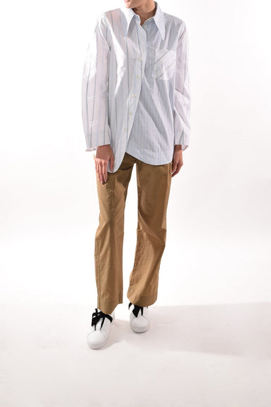 Shirting Cotton Button Down Top in Color Block