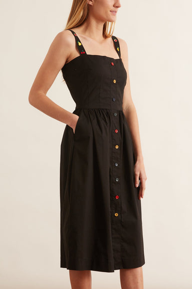 Laura Cotton Dress in Solid Black with Fruit