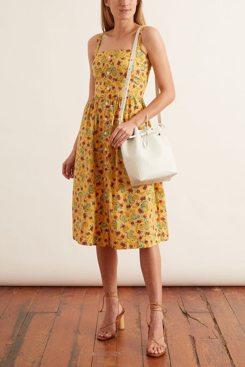 Laura Cotton Dress in Yellow Tropical Fruit
