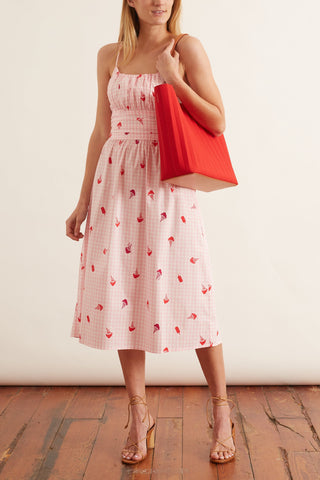 Lucy Strappy Cotton Ruched Dress in Gingham with Ice Cream