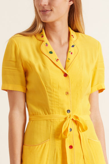 Maria Button Down Pajama Dress in Solid Yellow with Fruit