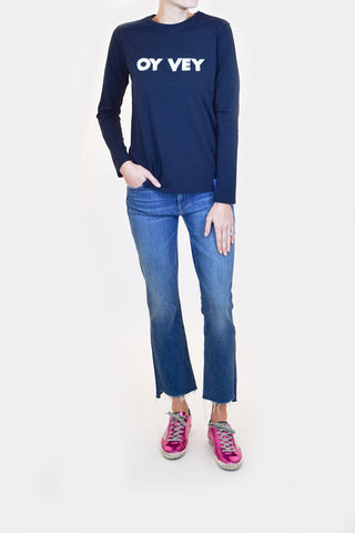 The Modern Long Oy Vey Top in Navy