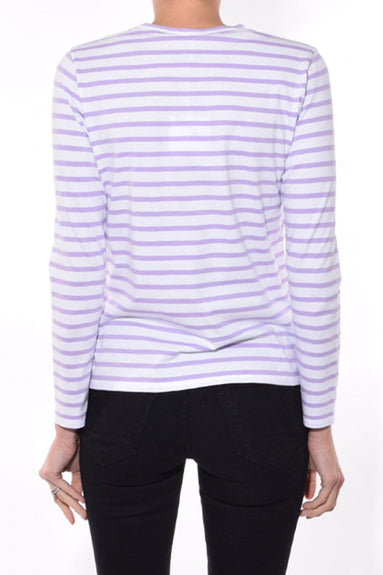 The Modern Long Sleeve Top in White/Lilac