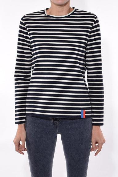 The Modern Long Top in Navy/Cream