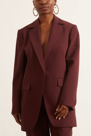 Elongated Jacket in Burgundy Bonded Wool