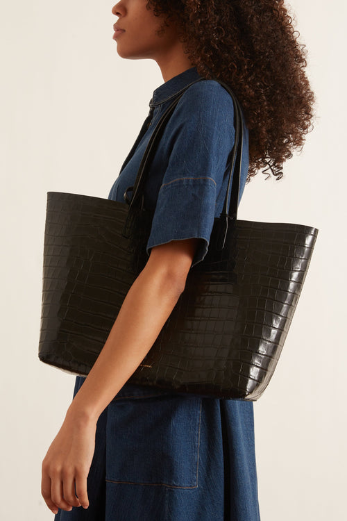 Croc Embossed Large Tote in Black
