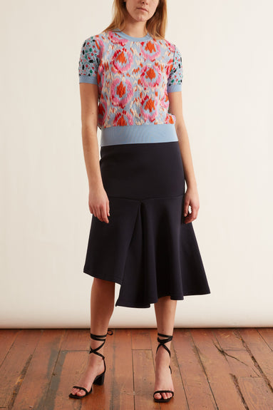 Double Face Jersey Skirt in Deep Blue