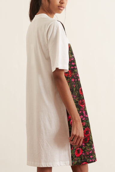 Short Sleeve Cotton Jersey Dress in Lily White/ Starlight Pink