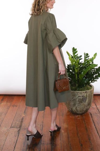 Ruffle Sleeve Dress in Olive