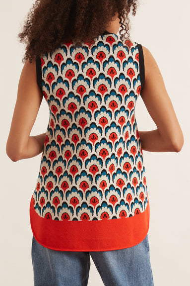Sleeveless Jacquard Top in Tapestry Pepins