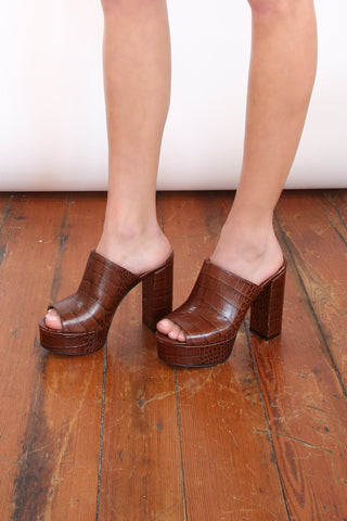 Moc Croco Platform Mules in Brown