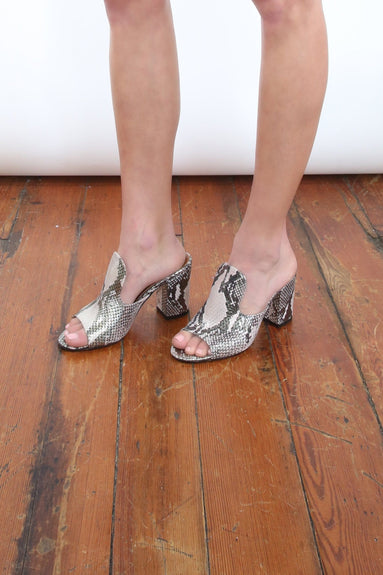 Python Lame Print Mule in Pink