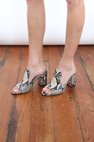 Snake Print Mules in Natural